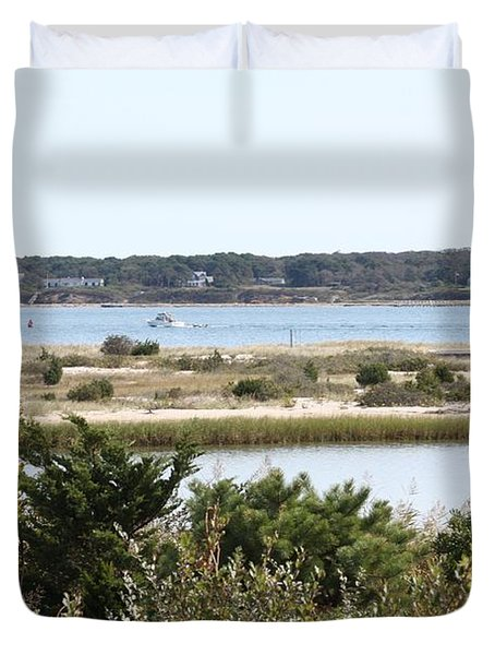 Edgartown Lighthouse With Wildflowers Duvet Cover by Carol Groenen