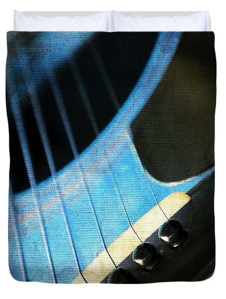 Duvet Cover featuring the photograph Edgy Blue Guitar  by Andee Design