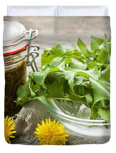 Edible Dandelions And Dandelion Jam Duvet Cover