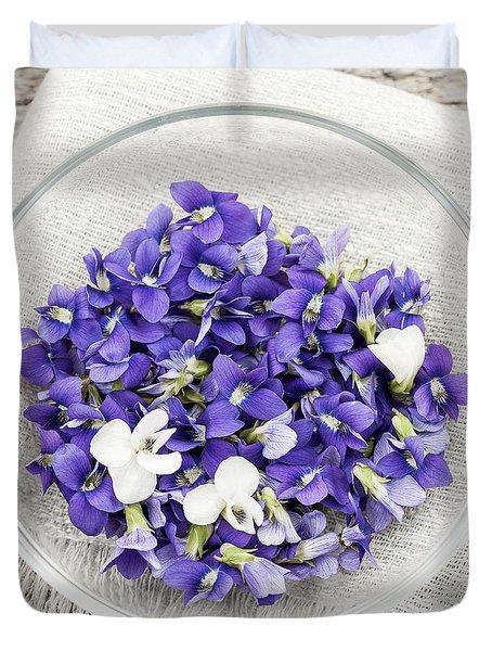 Edible Violets  Duvet Cover