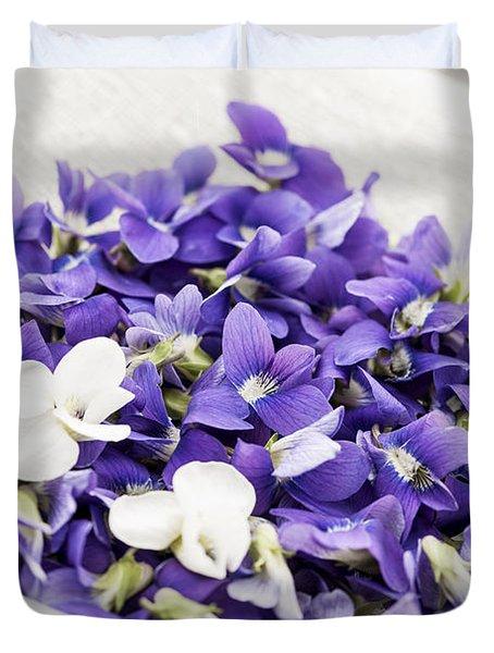 Edible Violets In Bowl Duvet Cover