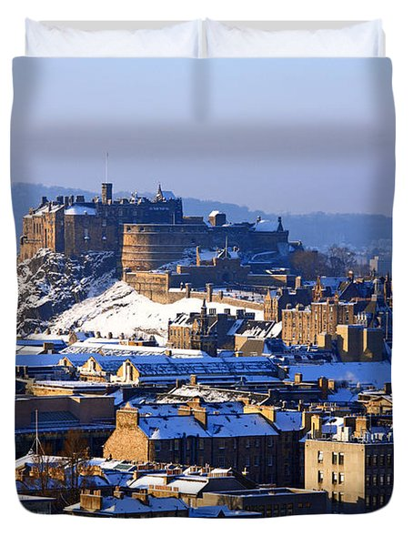 Duvet Cover featuring the photograph Edinburgh Castle Winter by Craig B