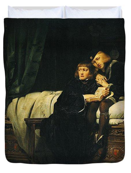 Edward V 1470-83 And Richard, Duke Of York In The Tower Les Enfants Dedouard 1830 Oil On Canvas See Duvet Cover