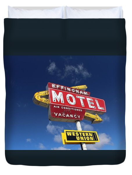 Effingham Motel Duvet Cover by Suzanne Lorenz