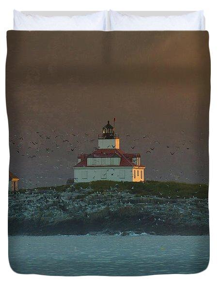Egg Rock Island Lighthouse Duvet Cover by Sebastian Musial
