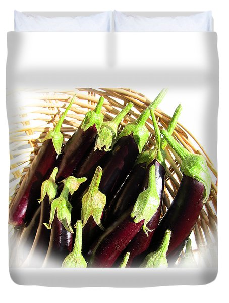 Duvet Cover featuring the photograph Eggplants In A Basket by Tina M Wenger