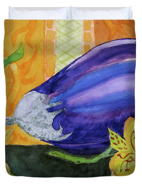 Duvet Cover featuring the painting Eggplant And Alstroemeria by Beverley Harper Tinsley