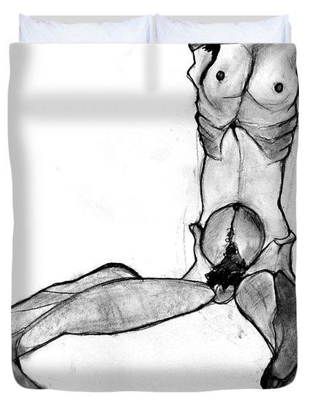 Egon Schiele Nude Duvet Cover by Britt Kuechenmeister