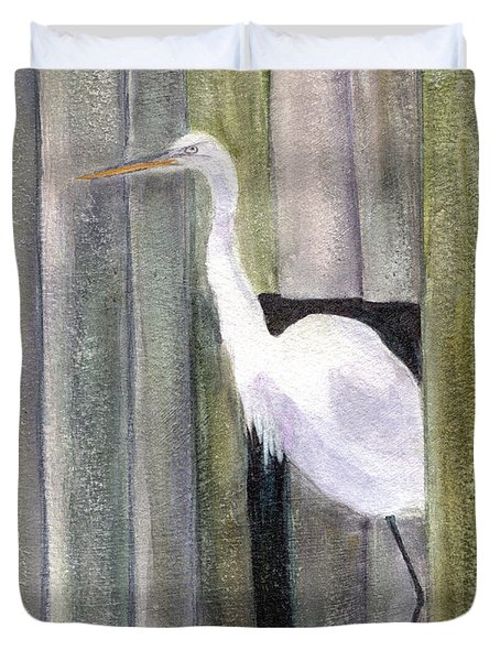 Egret At John's Pass Duvet Cover by Mickey Krause