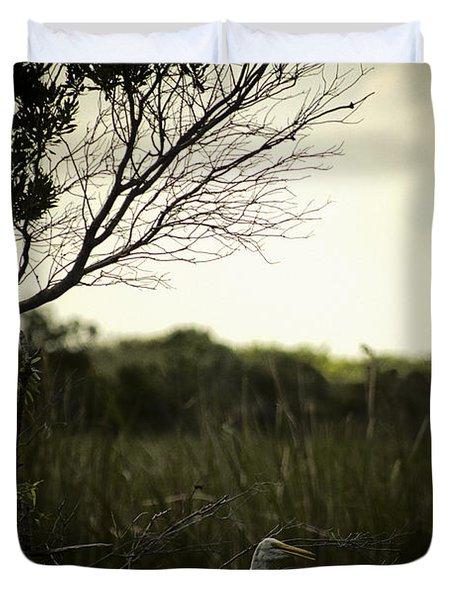 Egret At Sunset Duvet Cover