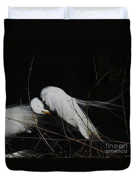 Egret Bird City At Avery Island Louisiana Duvet Cover