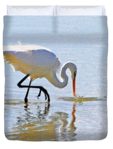 Egret Catches A Fish Duvet Cover by Tom Janca