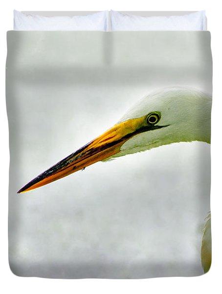 Egret Close-up Duvet Cover