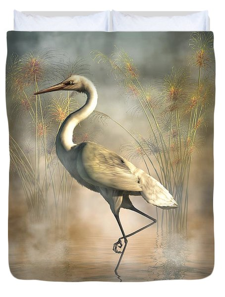 Duvet Cover featuring the digital art Egret by Daniel Eskridge