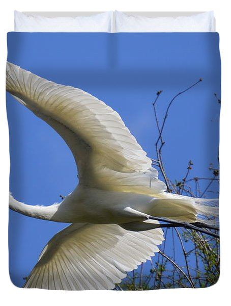 Duvet Cover featuring the photograph Egret Flying by Judith Morris