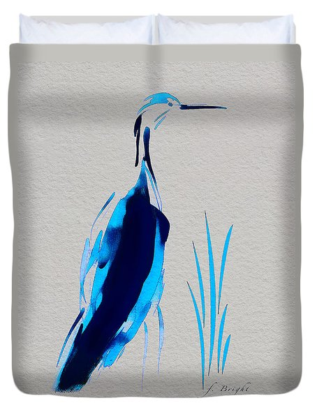 Duvet Cover featuring the digital art Egret In Blue 2 by Frank Bright