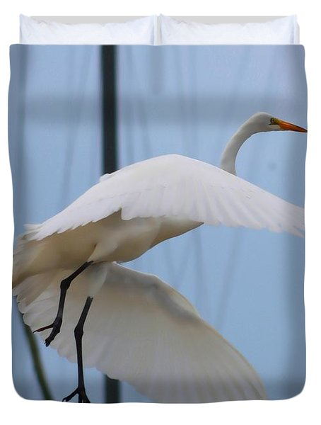 Egret In Flight Duvet Cover by Debra Forand