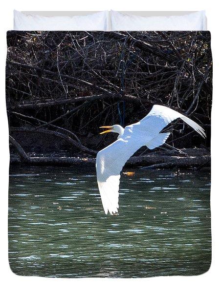 Egret In Flight Duvet Cover