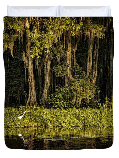 Egret On Caddo Lake Duvet Cover