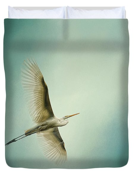 Egret Overhead Duvet Cover by Jai Johnson