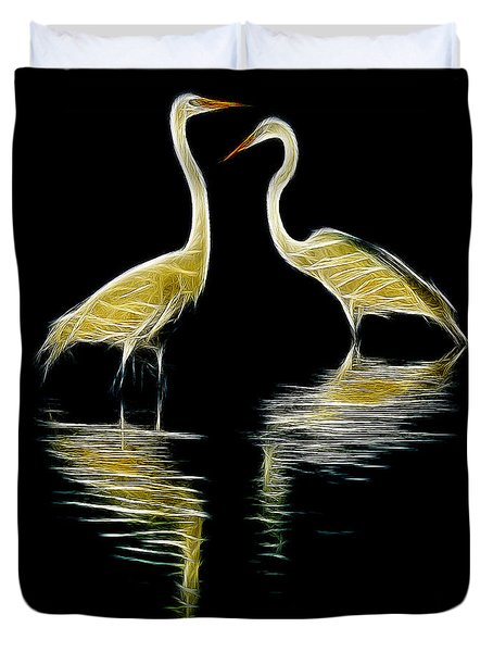 Duvet Cover featuring the photograph Egret Pair by Jerry Fornarotto