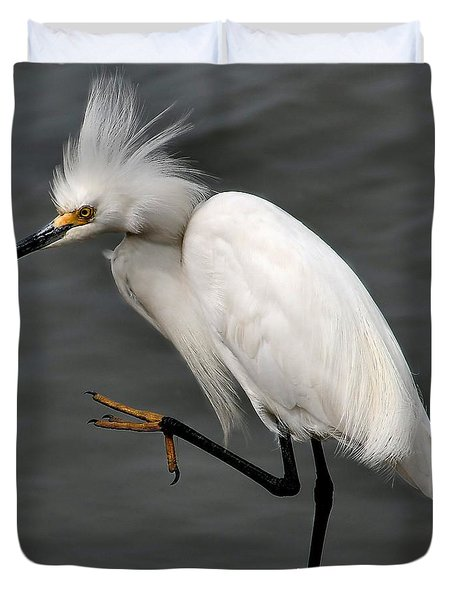 Egret Duvet Cover by Roger Becker
