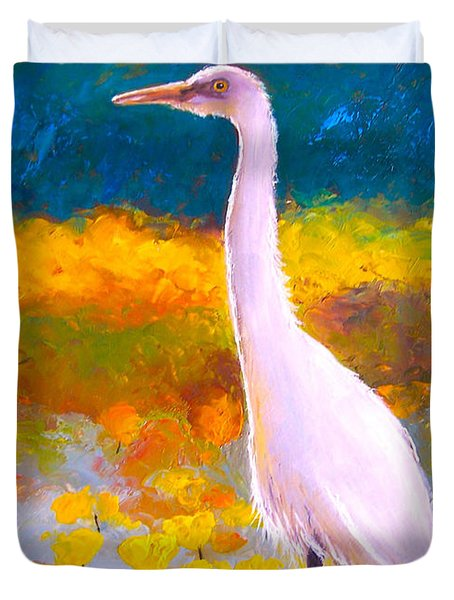 Egret Water Bird Duvet Cover by Jan Matson