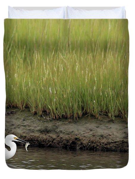 Egret's Catch Duvet Cover by Karol Livote