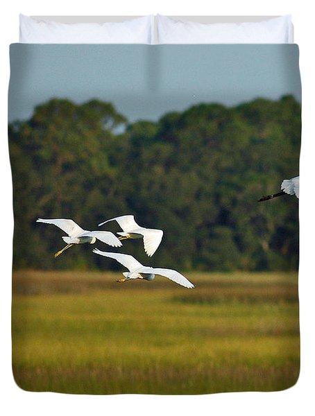 Egrets In Flight On Jekyll Island Duvet Cover by Bruce Gourley