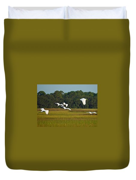 Egrets In Flight On Jekyll Island Duvet Cover