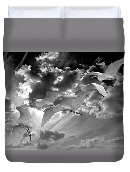 Egrets In Succession Bw Duvet Cover