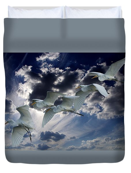 Egrets In Succession Duvet Cover