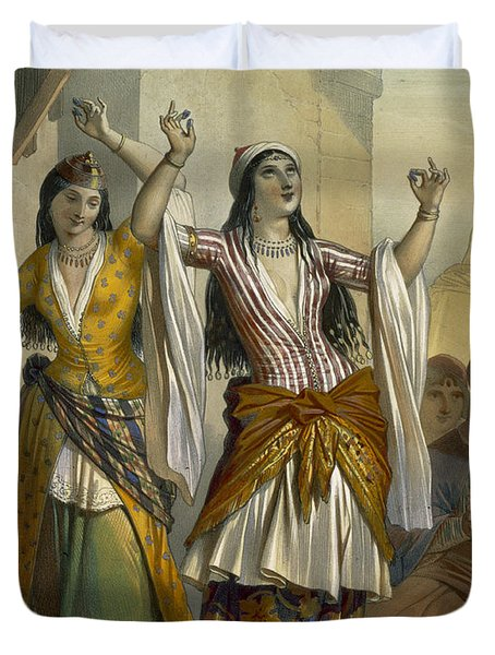 Egyptian Dancing Girls Performing Duvet Cover by Emile Prisse d'Avennes