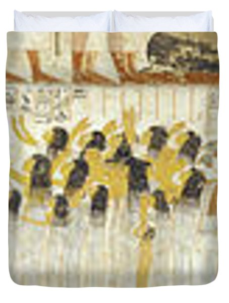 Egyptian Hieroglyphs On The Wall, Tomb Duvet Cover