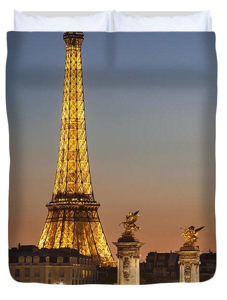 Eiffel At Twilight Duvet Cover
