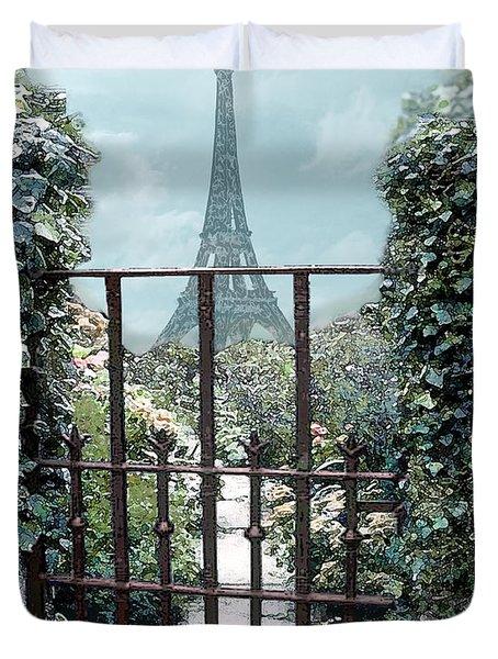 Eiffel Garden In Blue Duvet Cover