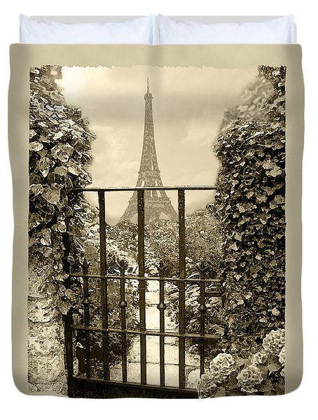 Eiffel Garden Sepia Duvet Cover