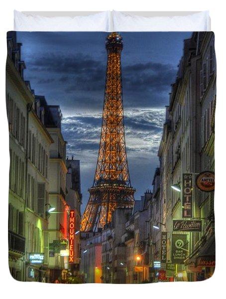 Eiffel Over Paris Duvet Cover