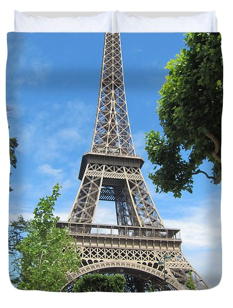 Duvet Cover featuring the photograph Eiffel Tower - 1 by Pema Hou