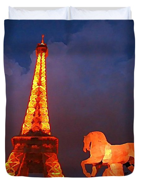 Eiffel Tower And Horse Duvet Cover by John Malone