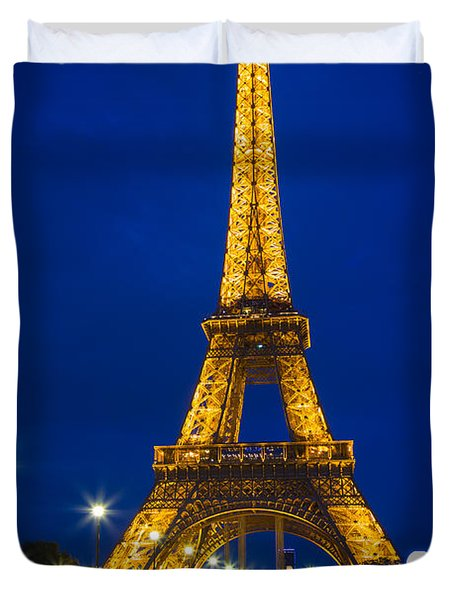 Eiffel Tower By Night Duvet Cover by Inge Johnsson