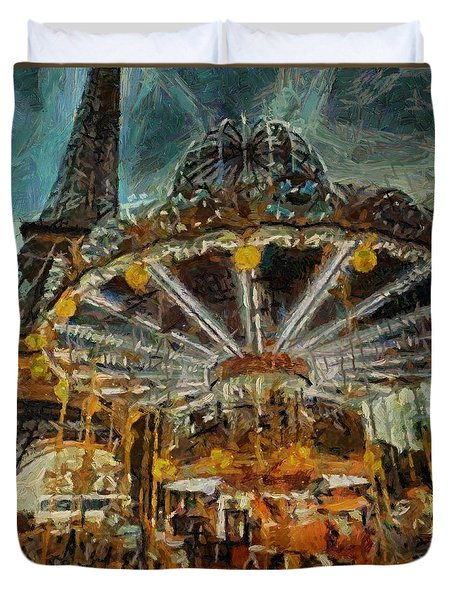 Eiffel Tower Carousel Duvet Cover