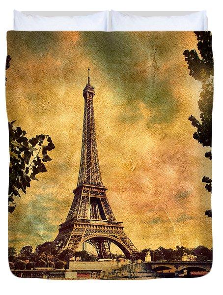 Eiffel Tower In Paris France Duvet Cover by Michal Bednarek