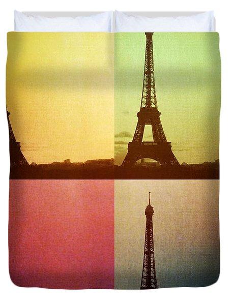 Eiffel Tower In Sunset Duvet Cover