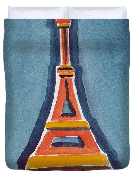 Eiffel Tower Orange Blue Duvet Cover