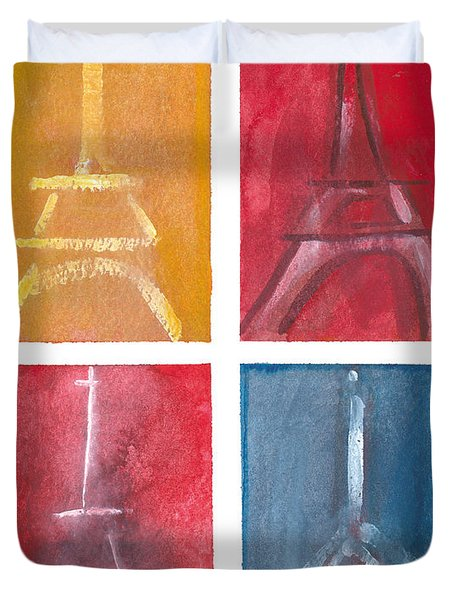 Eiffel Tower Paintings Of 4 Up Duvet Cover