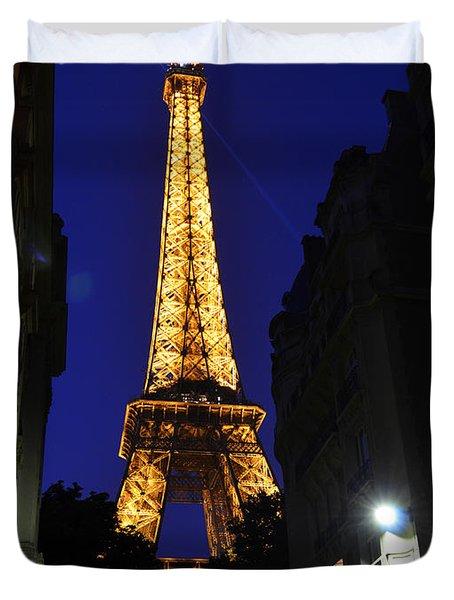 Eiffel Tower Paris France At Night Duvet Cover by Patricia Awapara