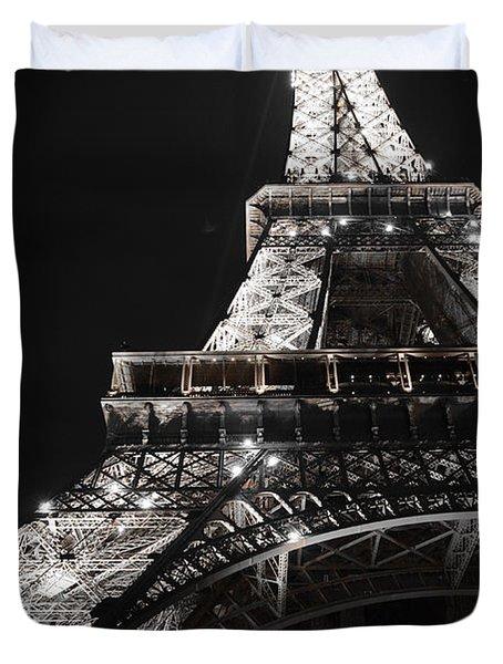 Eiffel Tower Paris France Night Lights Duvet Cover