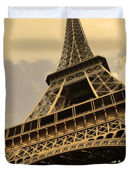 Eiffel Tower Paris France Sepia Duvet Cover by Patricia Awapara