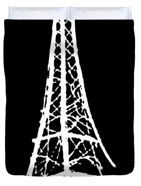 Eiffel Tower Paris France White On Black Duvet Cover